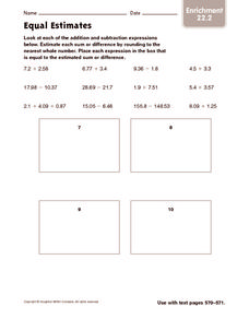 Equal Estimates: Enrichment Worksheet