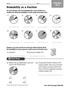 Probability As A Fraction (Practice 23.2) Worksheet