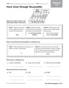 Place Value Through Thousandths Reteach 1 5 Worksheet For 3rd 4th Decimal Place Value Worksheets Free Place Value Through Thousandths Reteach 1 5 Worksheet