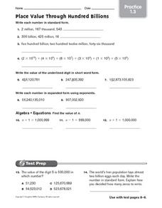 Place Value Through Hundred Billions - Practice 1.3 Worksheet