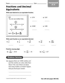 Fraction and Decimal Equivalents homework 21.4 Worksheet