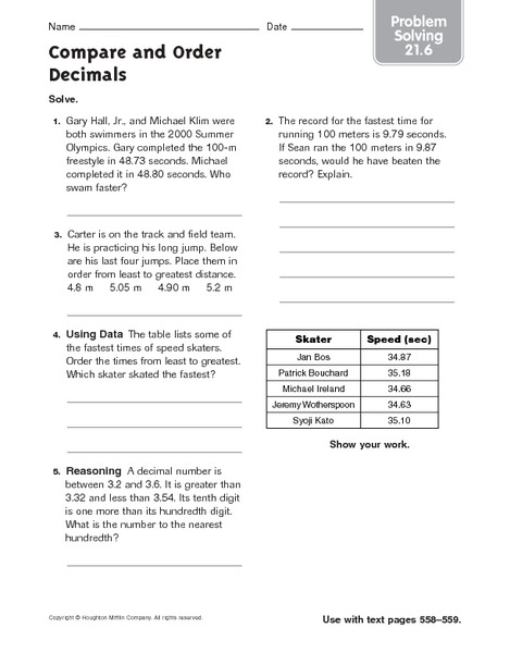 Compare and Order Decimals: Problem Solving Worksheet