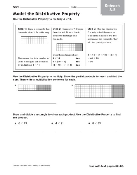 Model the Distributive Property: Reteach Worksheet for 4th ...