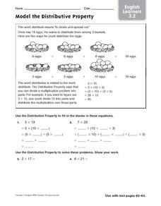 Model the Distributive Property: ELL Worksheet