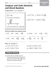 Compare and Order Decimals and Mixed Numbers: Homework Worksheet