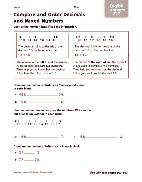 compare and order decimals and mixed numbers ell worksheet for th   compare and order decimals and mixed numbers ell worksheet