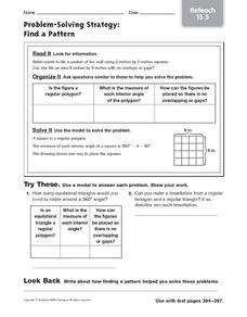 Problem-Solving Strategy: Find a Pattern Reteach Worksheet