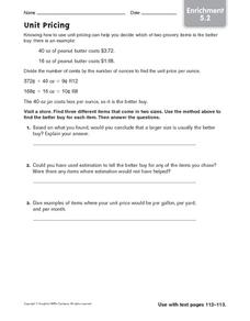 Unit Pricing: Enrichment Worksheet