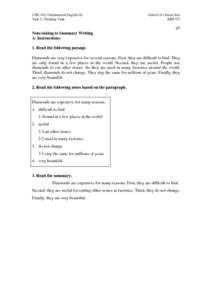Note-Taking to Summary Writing Worksheet