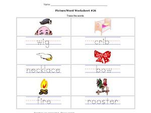 Picture/Word Worksheet #26 Trace the Words Worksheet