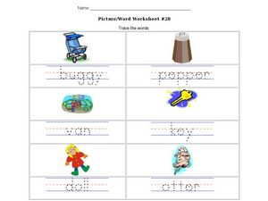 Picture/Word Worksheet #28- Trace the Words Worksheet