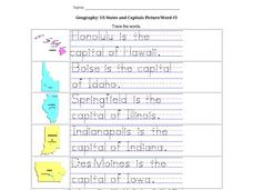 Geography: US States and Capitals Picture/Word #3 Worksheet