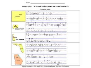 Geography: US States and Capitals Pictures/Words #2 Worksheet