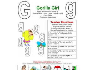 Gorilla Girl- Letter G Worksheet Worksheet