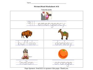 Picture/Word Worksheet #31- Trace the Words Worksheet