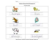 Animals: Picture/Word Worksheet #3 Worksheet