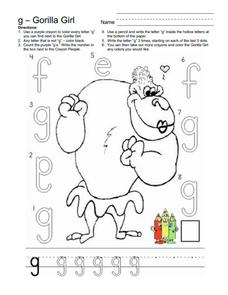 gorilla girl letter g worksheet for kindergarten 1st grade lesson planet. Black Bedroom Furniture Sets. Home Design Ideas
