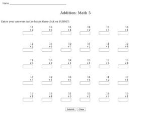 Addition-adding one digit to two digits Worksheet
