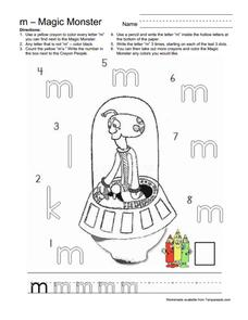 Magic Monster Letter M Worksheet
