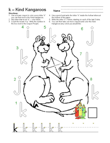 The Letter K: Kind Kangaroos Worksheet