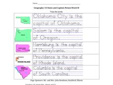 Geography: US States and Capitals Picture/Word #8 Worksheet