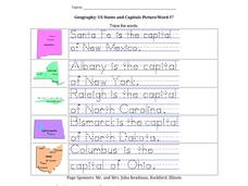 Geography: US States and Capitals Picture/Word #7 Worksheet