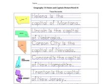 Geography: US States and Capitals Picture/Word #6 Worksheet