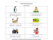 Picture/Word Worksheet #14 Worksheet