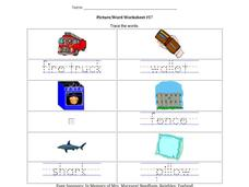 Picture/Word Worksheet #17 Worksheet