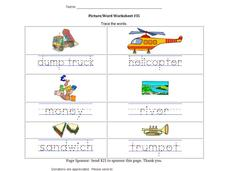 Picture/Word Worksheet #35 Worksheet