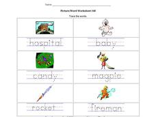 Picture/Word Worksheet #40 Worksheet