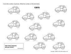Counting Cars Number 12 Worksheet