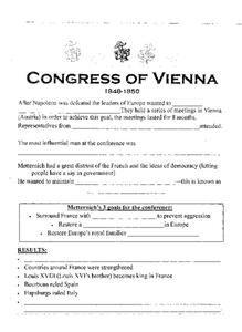 congress of vienna worksheet for 7th 10th grade lesson planet. Black Bedroom Furniture Sets. Home Design Ideas