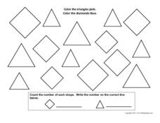 Courting Shapes-Triangles and Diamonds Worksheet