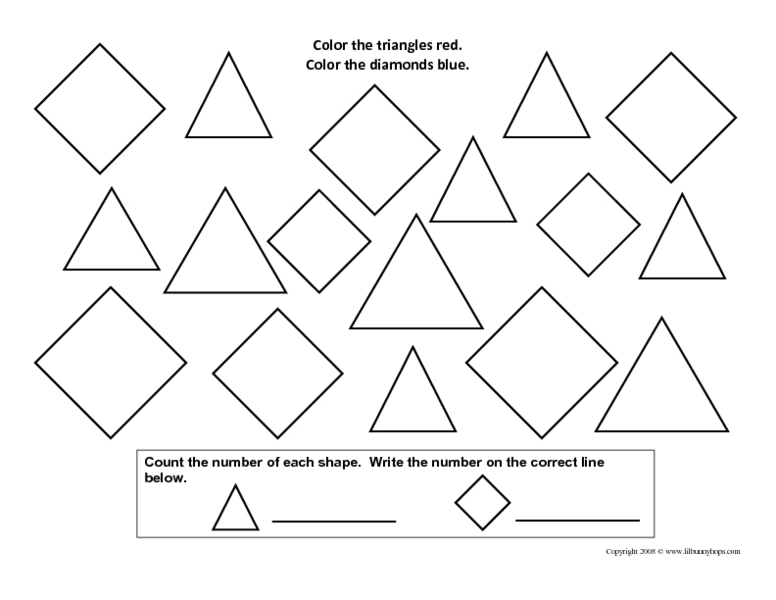 Counting Shapes-Triangles and Diamonds Worksheet