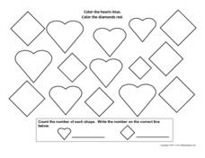 Counting Shapes-Hearts and Diamonds Worksheet