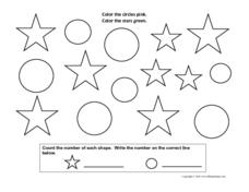 Coloring and Counting Shapes: Circles and Stars Worksheet