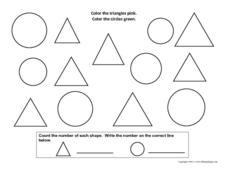 Coloring and Counting Shapes: Triangles and Circles Worksheet