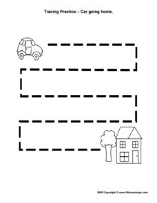 Tracing Practice - Car to Home Worksheet