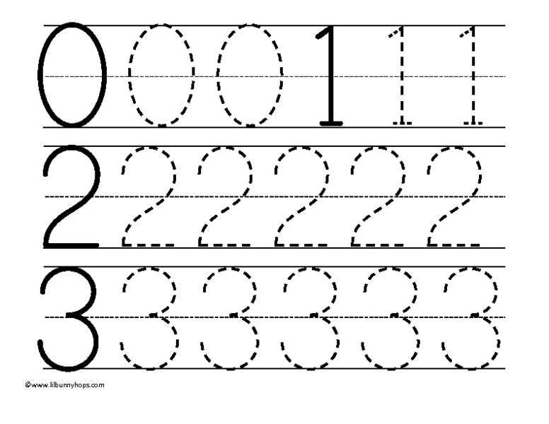 Tracing Numbers 0-3 Worksheet For Pre-K