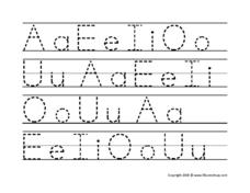 Alphabet Printing Practice: Vowels Worksheet