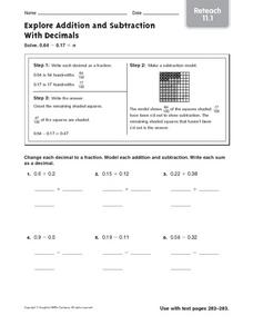 Explore Addition and Subtraction With Decimals Worksheet