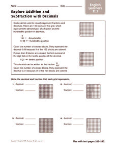Explore Addition and Subtraction with Decimals: ELL Worksheet