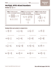 Multiply with Mixed Numbers: Reteach Worksheet