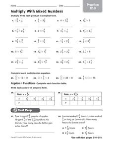 Multiply with Mixed Numbers: Practice Worksheet