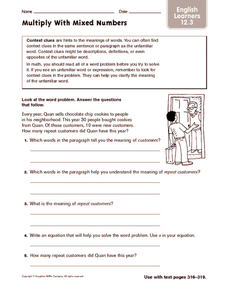 Multiply with Mixed Numbers - ELL Worksheet