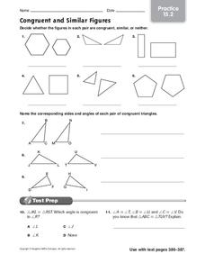 Congruent and Similar Figures Worksheet