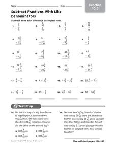 Subtract Fractions with Like Denominators: Practice Worksheet