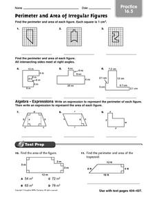 Perimeter and Area of Irregular Figures practice 16.5 Worksheet