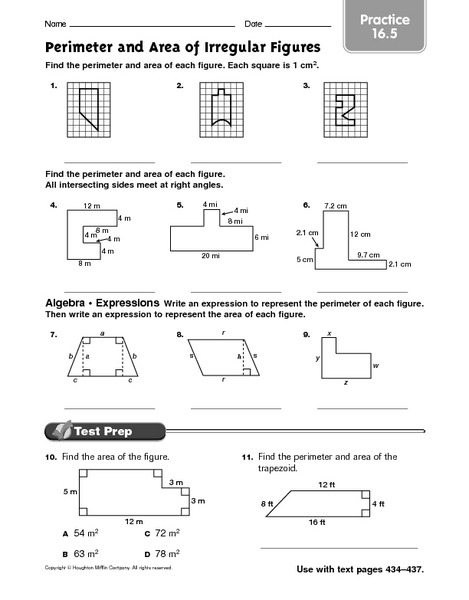 perimeter and area of irregular figures practice 16 5 worksheet for 4th 6th grade lesson planet. Black Bedroom Furniture Sets. Home Design Ideas